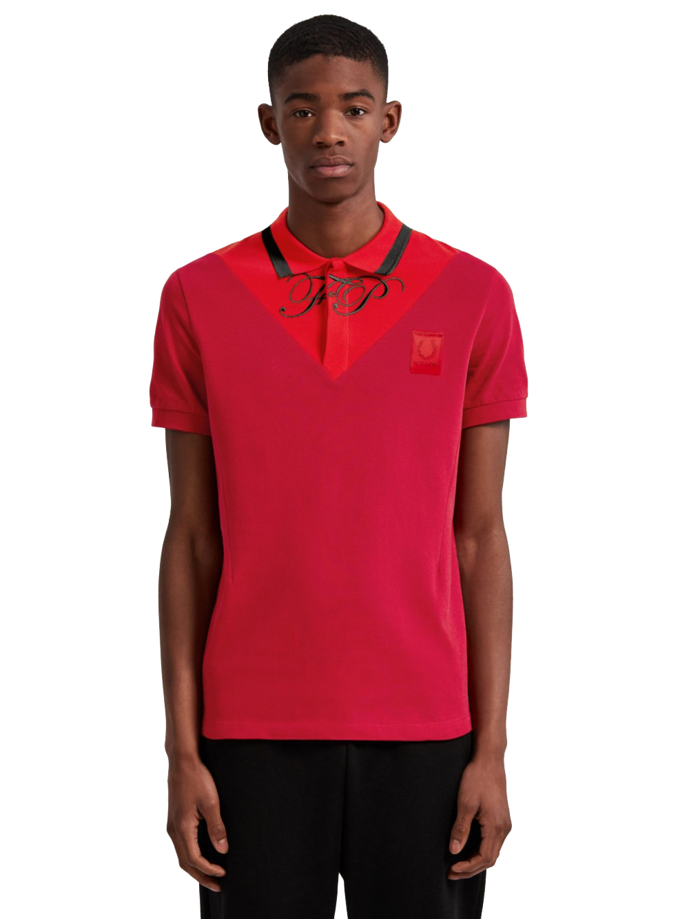 RAF SIMONS SM5132 V-INSERT PIQUE SHIRT WINTER RED