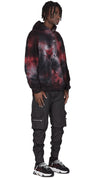 REPRESENT M04017 LOGO HOODIE RED MARBLE