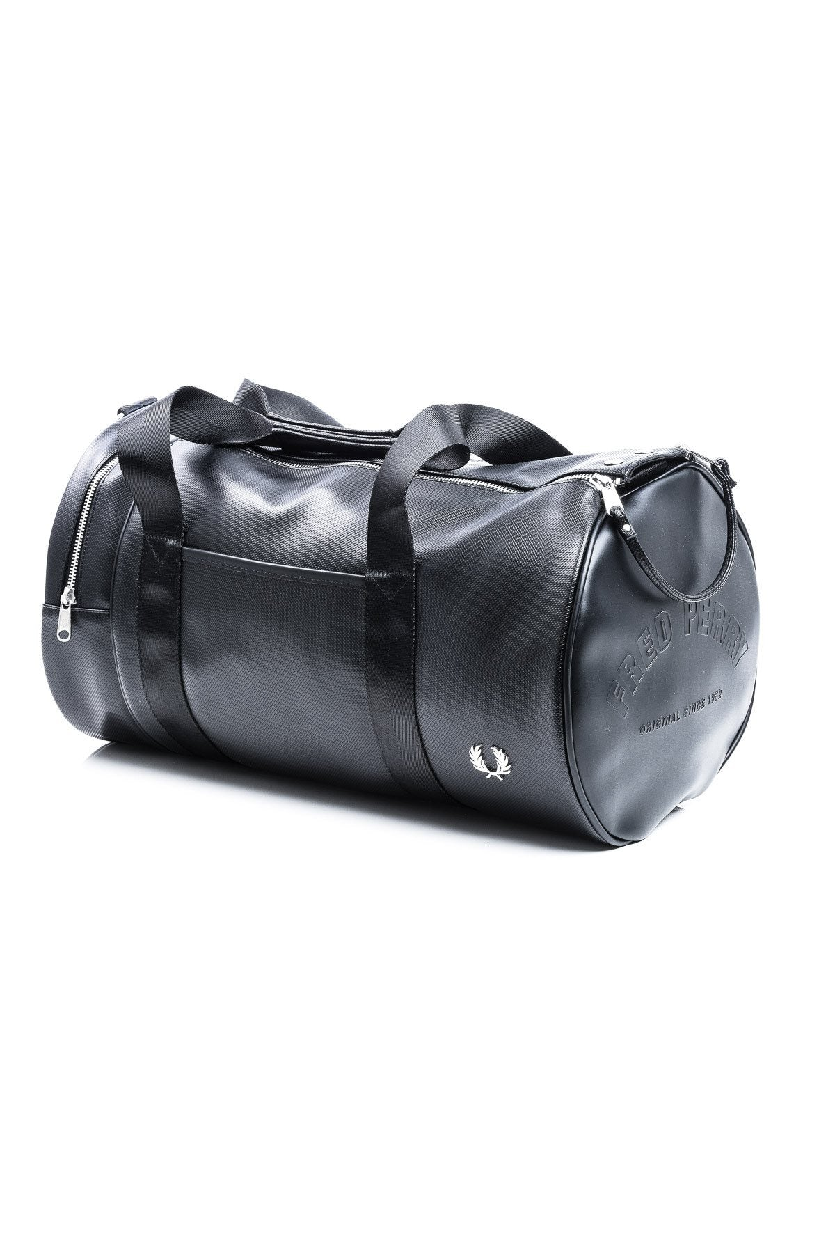 Accessories - Fred Perry L9201 Pique Texture Barrel Bag In Black