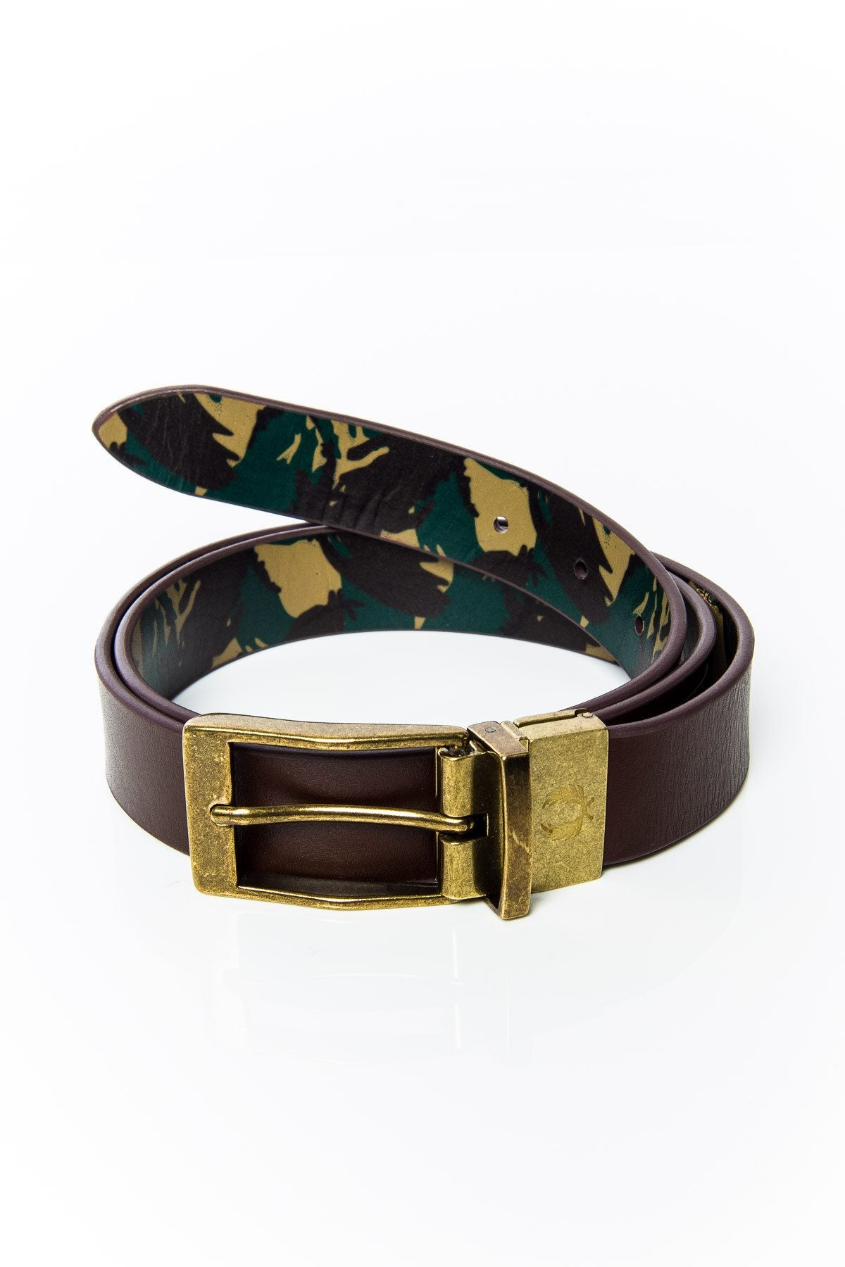 Belt - Fred Perry BT7406 Camo Print Reversible Belt Chocolate