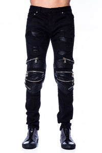 Denim - God's Masterful Children Radburn Patchwork Biker Jeans In Black