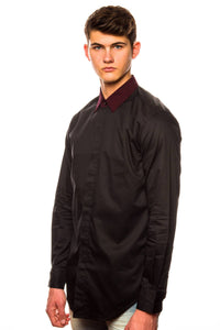 Shirt - Shades Of Grey Hidden Placket Black Shirt