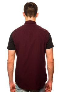 Shirt - Shades Of Grey Raw Edge Maroon Shirt