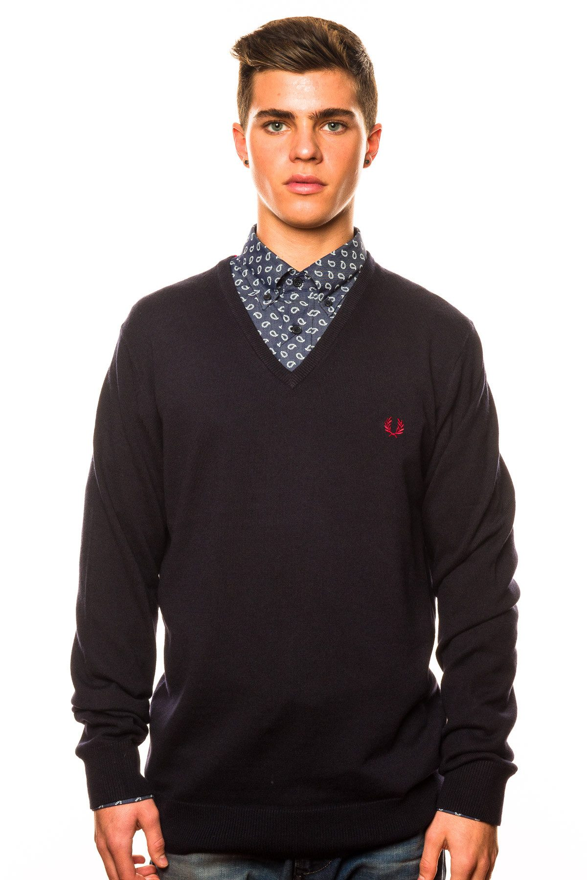 Sweater - Fred Perry Classic Tipped V-Neck Sweater