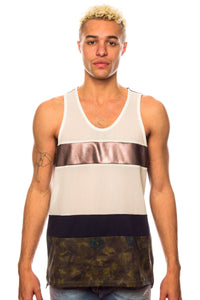 Tank - Shades Of Grey Multi Fabric White/Bronze/Navy Tank Top