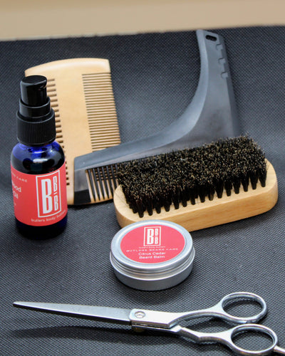 Beard Grooming Set for Men, Essential Oil Scented Balm and Oil, Brush Comb and Scissors - Butlers Body Butters