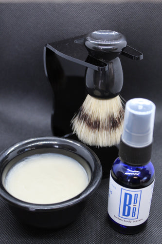 Mens Shaving Kit, All Natural Mens Face Care, Stand Brush Bowl Soap Oil - Butlers Body Butters