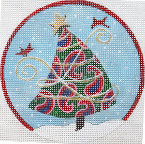 Paisley Tree With Red  Trim
