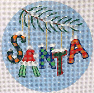 "Christmas Words Ornament: ""Santa"" In Blues"