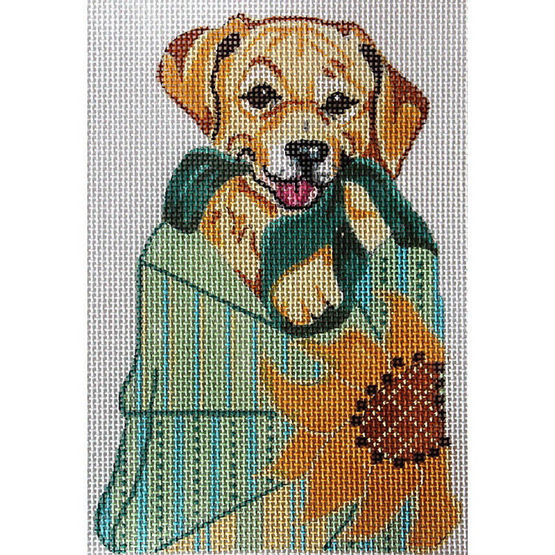 Yellow Labrador In Sunflower Bag
