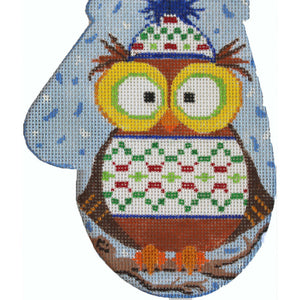 Owl In Winter Clothes Large Mitt