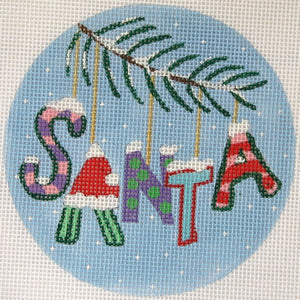 "Christmas Words Ornament: ""Santa"" In Pinks"