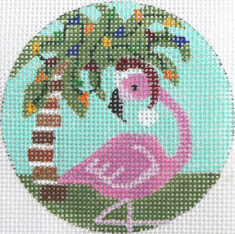 Flamingo With Palm Tree Ornament