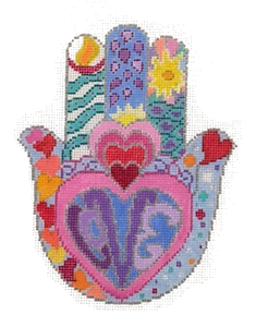Hamsa:  Hearts In Rainbow Colors