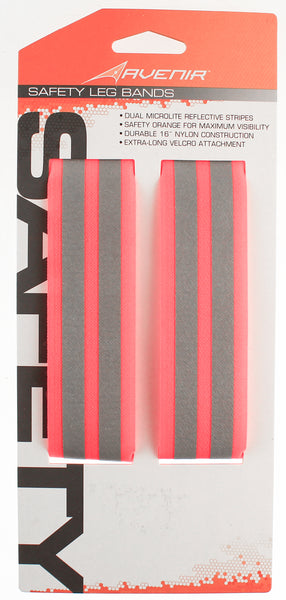"AVENIR SAFETY LEG BANDS Nylon Velcro Bike Run Orange Reflective Stripes 16"" NEW"