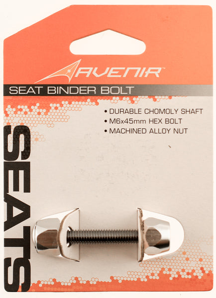 AVENIR SEAT BINDER Silver Alloy Nut Chromoly Shaft M6 x 45mm Bike Bolt Clamp NEW