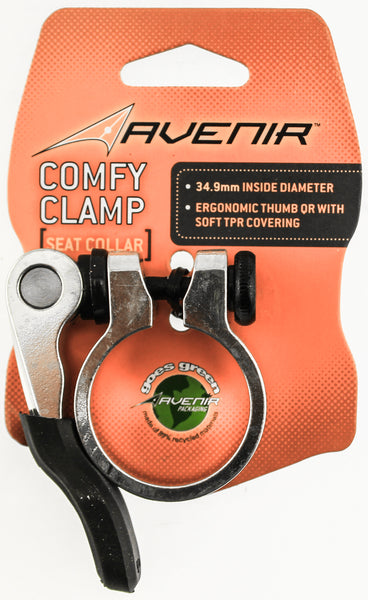AVENIR QR COMFY CLAMP Seat Collar 34.9mm Bike Alloy Silver Quick Release TPR NEW