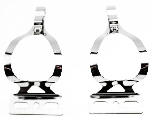 AVENIR 2X FIXIE STEEL TOE CLIPS LG Bike Pedals Strapless Double Strap Silver NEW