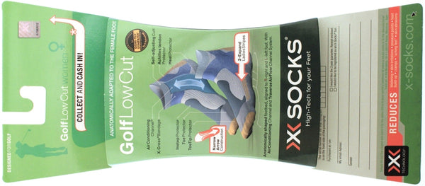 X-SOCKS GOLF Low Cut Women's MSRP $32 US 4.5 - 5.5 EU 35 - 36 Pr White Blue NEW