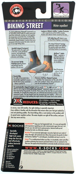 X-SOCKS BIKING STREET WATER REPELLENT MSRP $34 Short Sock 6.5-8.5 EU 39-41 NEW