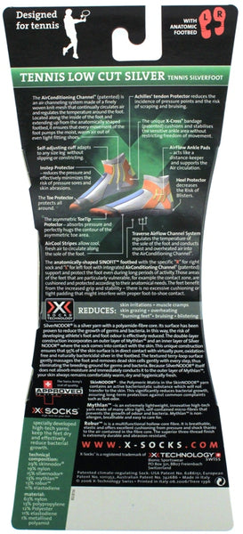X-SOCKS TENNIS LOW CUT SILVER MSRP $38 US 6.5 - 8.5 EU 39 - 41 White SINOFIT NEW