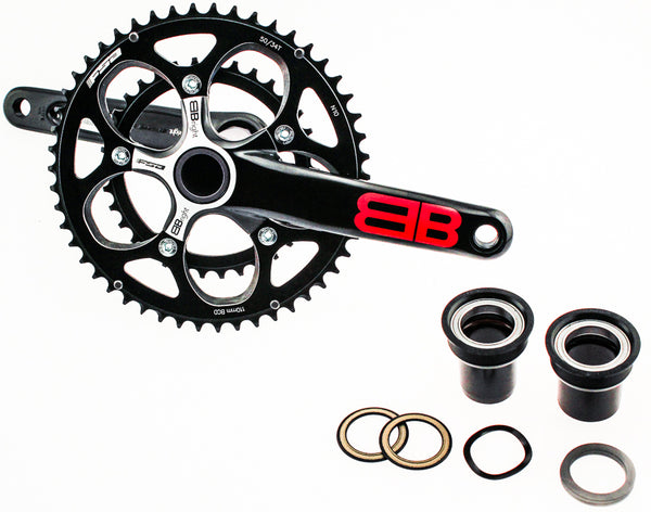 2013 FSA BBRIGHT GOSSAMER Road Bike Crankset 50/34t 172.5 10S N10 Black Alloy NEW
