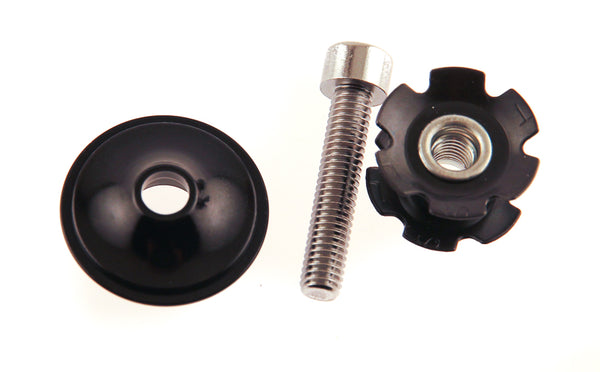 "FSA Star Nut - Bolt - Alloy Cap for 1"" Road MTB Bike Forks-Steertubes Black NEW"