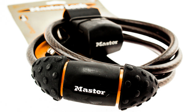 MASTER LOCK PRO SPORT 6' Integrated Keyed Cable Lock 10mm Bicycle 2 Keys NEW