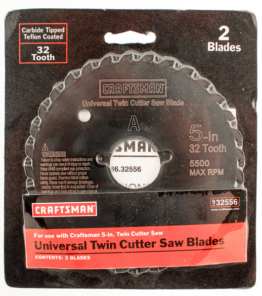 "Craftsman 5"" Carbide TippedReplace Blades 2 Pack Universal Twin Cutter 32 Teeth"