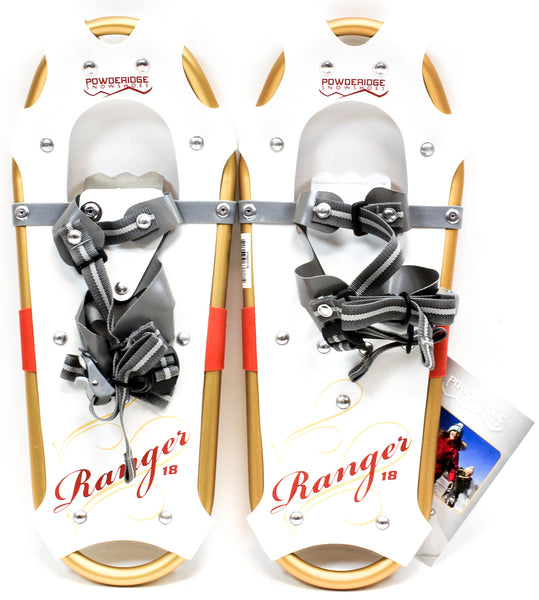 "POWDERIDGE RANGER JUNIOR Girl's Snowshoes 7 X 18"" Pair Snow Shoes White NEW"