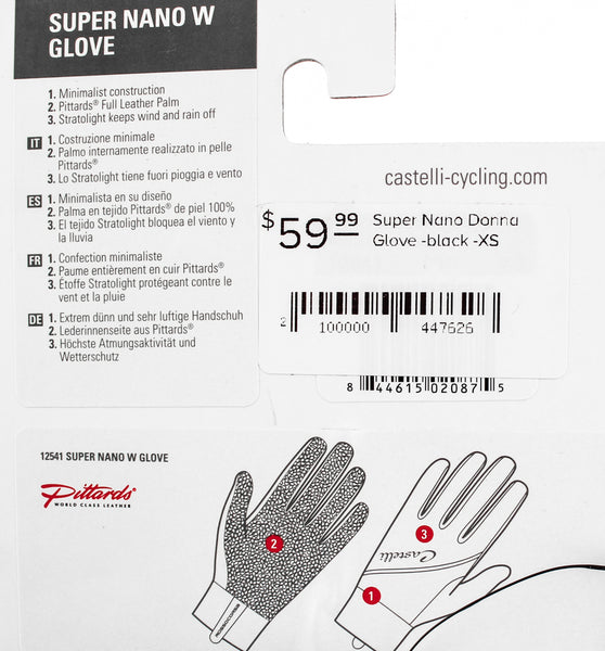 CASTELLI SUPER NANO DONNA Women's Cycling Gloves XL Pair Long Fingered Black NEW