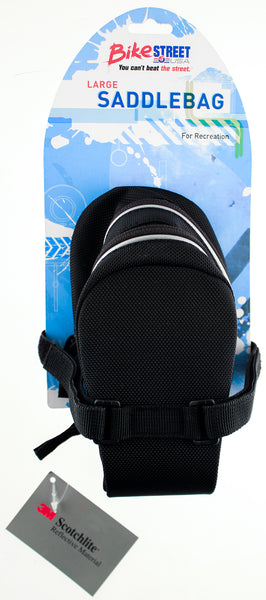 Bicycle Saddlebag Saddle Bag Bike Black Velcro Straps Reflective Expandable NEW