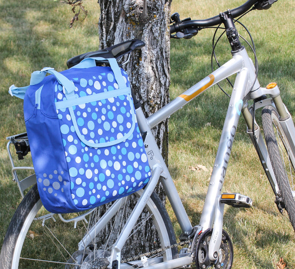 FASTRIDER SHOPPER DOT Bike Pannier/Bag Blue Polka 13L Water Resistant Single NEW