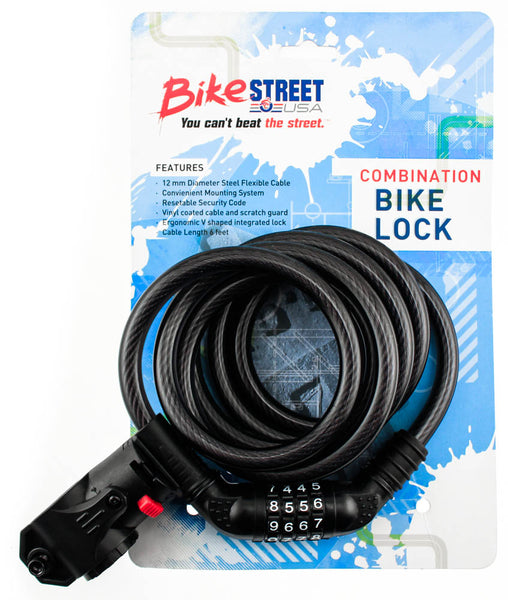 BIKE STREET Combination Bike Lock Cable 12mm x 6' Combo Flexible W/ Mounting NEW