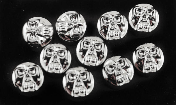 "10 HOT TOPPERS HARLEY Engine Trim 1/4"" Chrome Skull Socket Head Cap Screw Cover"