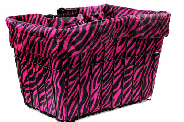 CRUISER CANDY Bike Bicycle Basket Liner / Convertible Bag - Hot Zebra Pink NEW
