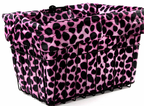 CRUISER CANDY Bike Bicycle Basket Liner / Convertible Bag - Pink Dalmatian NEW