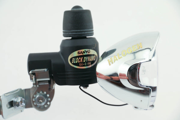 Sanyo Block Dynamo Rim/Tire Generator Bike Halogen Head Light 6V 2.4 Watt NEW