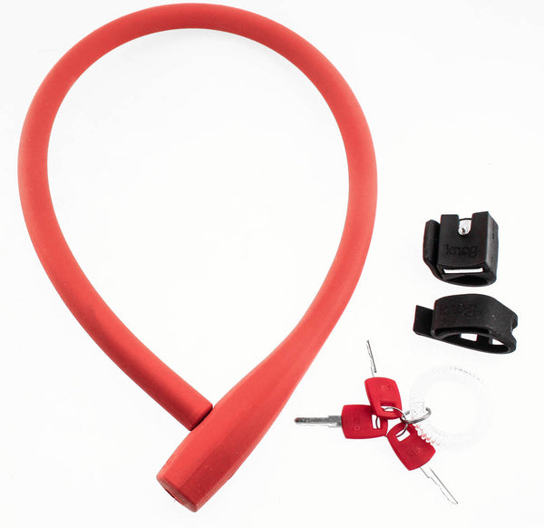 KNOG KRANSKY 880mm Cable Bike Lock With Bracket Red Keyed QR Mount NEW