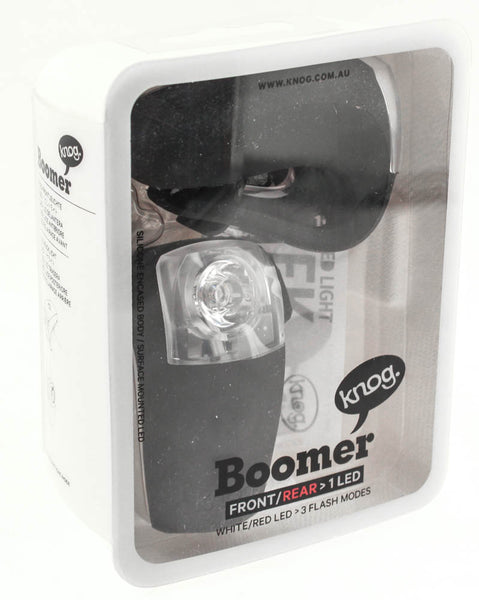 KNOG BOOMER TWINPACK Front/Rear White/Red LED Bike Lights Black 30/7 Lumens NEW
