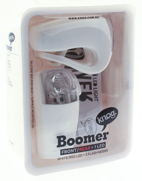 KNOG BOOMER TWINPACK Front/Rear White/Red LED Bike Lights White 30/7 Lumens NEW