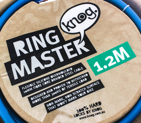 Knog Ring Master 1.2m Bike Cable Bike Silicone Over-Moulded Blue 10mm Steel NEW