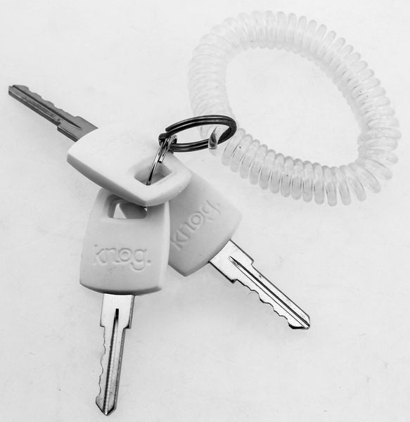 KNOG PARTY FRANK 620mm Cable Bike Lock With Bracket White Keyed Steel NEW