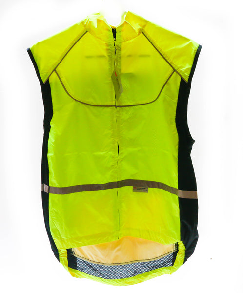 WOWOW Sm Sleeveless Sport Jacket  Cycling Wind Vest 3M High-Viz Reflective NEW