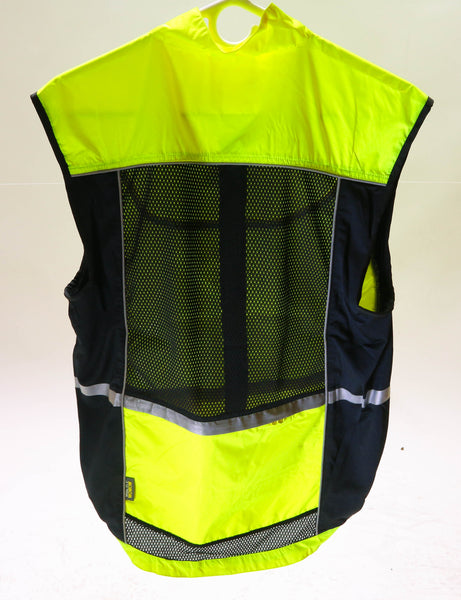 WOWOW Med Sleeveless Sport Jacket  Cycling Wind Vest 3M High-Viz Reflective NEW