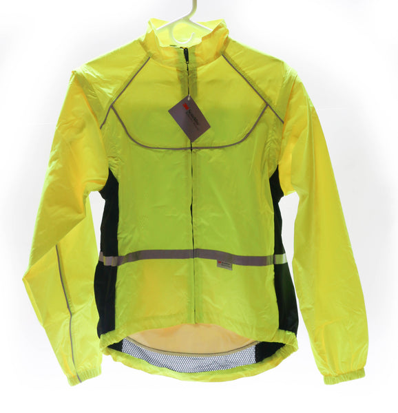 WOWOW Lrg Sport Cycling Jacket w/ Removable Sleeves 3M High-Viz Reflective NEW
