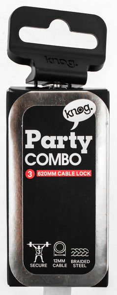 Knog Party Combo 620mm Cable Combination Bike Lock Braided Steel White New