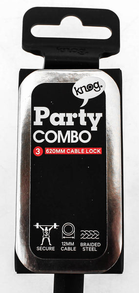 Knog Party Combo 620mm Cable Combination Bike Lock Braided Steel Black New