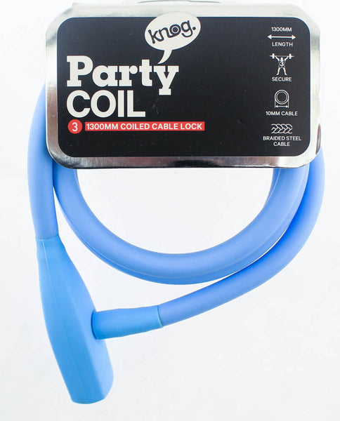KNOG PARTY COIL 1300mm Coiled Cable Bike Lock 10mm Braided Steel Sky Blue NEW