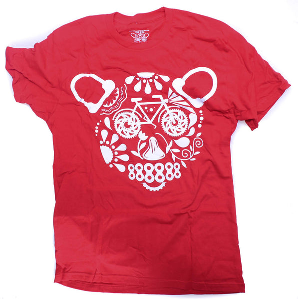 CLOCKWORK GEARS Day of The Bear Med T-Shirt Short Sleeve Red Cotton Crew NEW